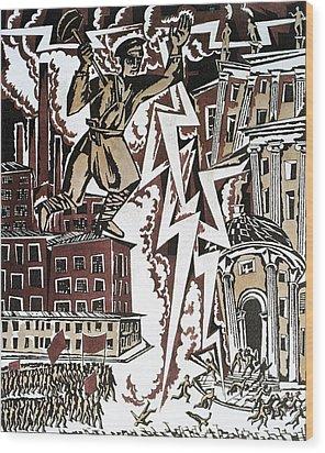 The Red Thunderbolt 1919 Wood Print by Ignaty Nivinisky