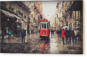 The Red Tram 2 Wood Print