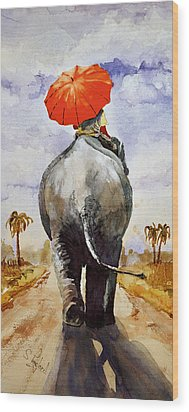Wood Print featuring the painting The Red Umbrella by Steven Ponsford