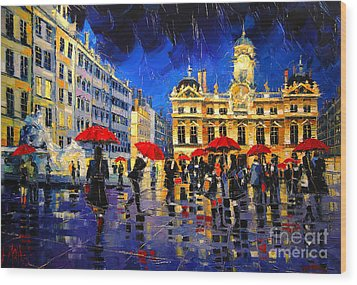 The Red Umbrellas Of Lyon Wood Print