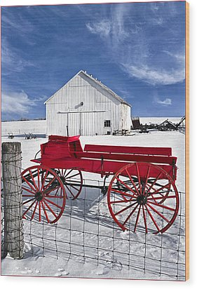 The Red Wagon Wood Print by Wendell Thompson