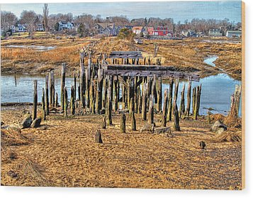 The Remains Of A Wellfleet Bridge Wood Print by Constantine Gregory