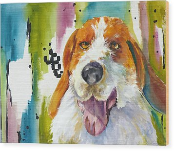 The Rescue Me Dog Wood Print by P Maure Bausch