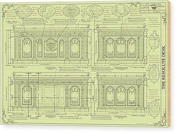 The Resolute Desk Blueprints - Soft Yellow Wood Print by Kenneth Perez