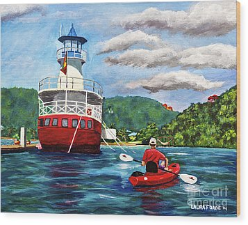 Out Kayaking Wood Print