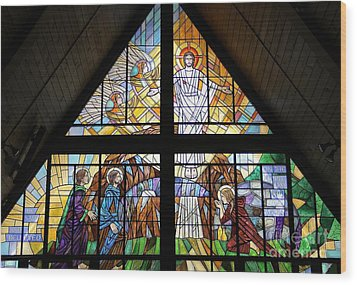 Wood Print featuring the glass art The Resurrection by Gilroy Stained Glass