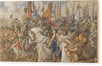 The Return Of The Victors Wood Print by Sir John Gilbert