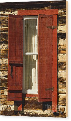 The Reynold's Cabin Window Wood Print by Catherine Fenner