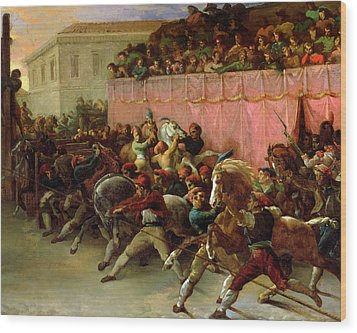 The Riderless Racers At Rome Wood Print by Theodore Gericault
