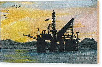 The Rig Wood Print by R Kyllo