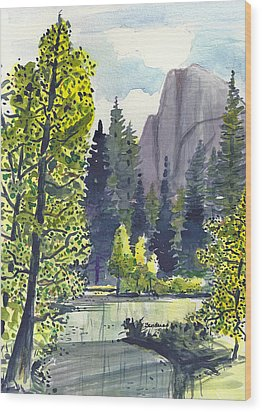 Wood Print featuring the painting The River At Yosemite by Terry Banderas