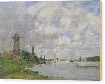 The River Meuse At Dordrecht Wood Print by Eugene Louis Boudin