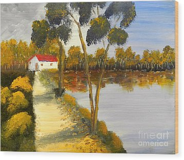 Wood Print featuring the painting The Riverhouse by Pamela  Meredith