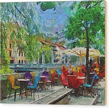The Riverside Cafe Wood Print by Dragica  Micki Fortuna