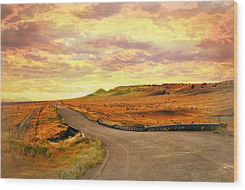 Wood Print featuring the photograph The Road Less Trraveled Sunset by Marty Koch