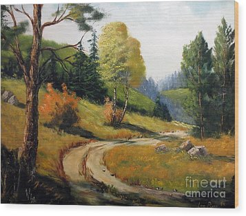 Wood Print featuring the painting The Road Not Taken by Lee Piper