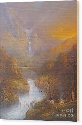 The Road To Rivendell The Lord Of The Rings Tolkien Inspired Art  Wood Print by Joe  Gilronan