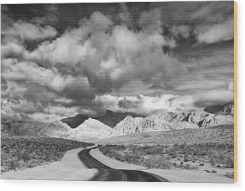 The Road To Turtlehead Peak Las Vegas Strip Nevada Red Rock Canyon Mojave Desert Wood Print by Silvio Ligutti