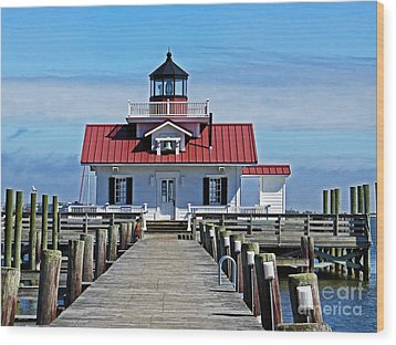 The Roanoke Marshes Lighthouse  Wood Print