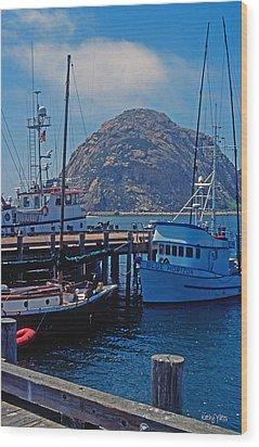 The Rock At Morro Bay Wood Print by Kathy Yates