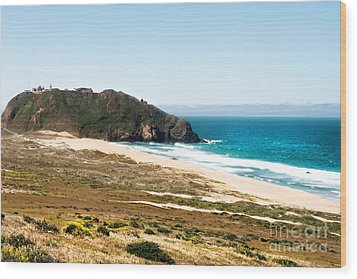 The Rock Of Piedras Blancas Lighthouse In San Simeon Ca Wood Print by Artist and Photographer Laura Wrede
