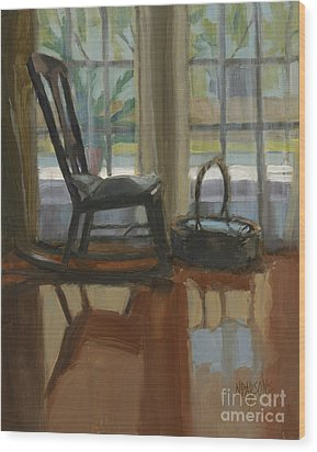 Wood Print featuring the painting The Rocker by Nancy  Parsons