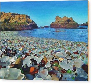 Glass Beach In Cali Wood Print