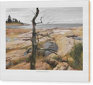 Wood Print featuring the painting The Rocks Of The Bay by Bob Salo