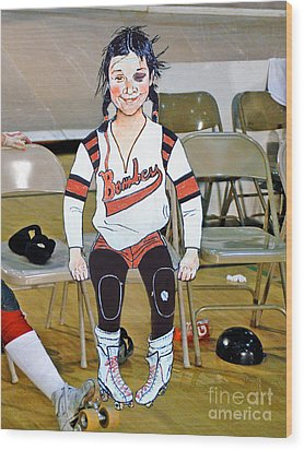 The Roller Derby Girl With A Black Eye Wood Print