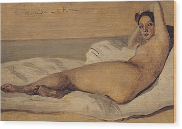 The Roman Odalisque Wood Print by Jean Baptiste Camille Corot
