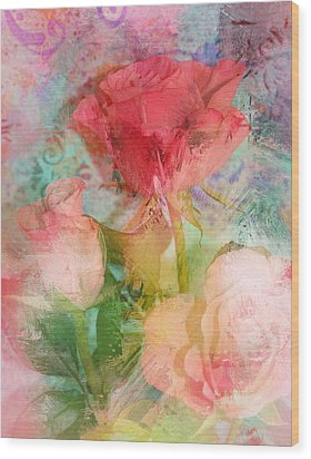 The Romance Of Roses Wood Print