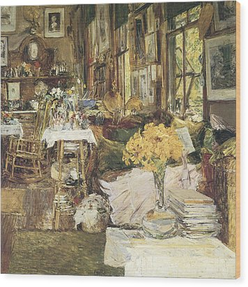 The Room Of Flowers Wood Print by Childe Hassam