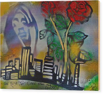 The Rose From The Concrete Gold Wood Print by Tony B Conscious