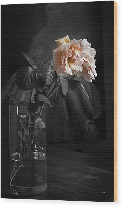 The Rose Grew Pale And Left Her Cheek Wood Print by Theresa Tahara