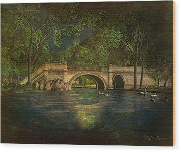 The Rose Pond Bridge 06301302 - By Kylie Sabra Wood Print by Kylie Sabra
