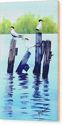 The Royal Terns Wood Print by Ruth Bodycott