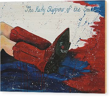 The Ruby Slippers Of The South Wood Print by Debi Starr