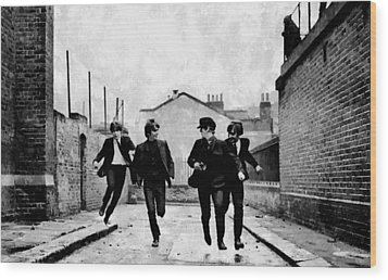 The Running Beatles Wood Print