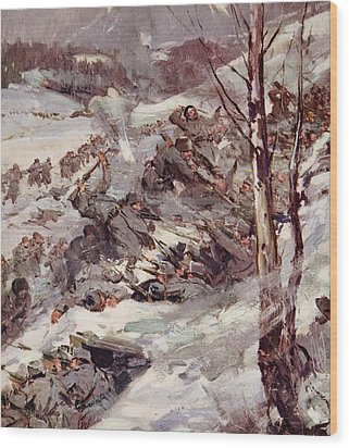 The Russians Fighting Their Way Over The Carpathians Wood Print by Cyrus Cuneo