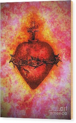 The Sacred Heart Of Jesus Christ Wood Print by Annie Zeno