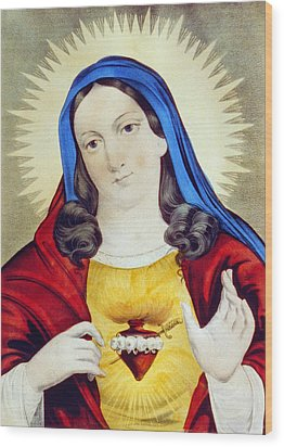 The Sacred Heart Of Mary Wood Print by Bill Cannon