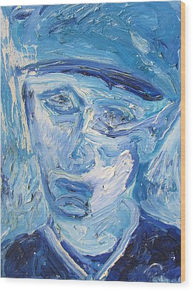 Wood Print featuring the painting The Sad Man by Shea Holliman