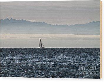 The Sail Boat Horizon Wood Print