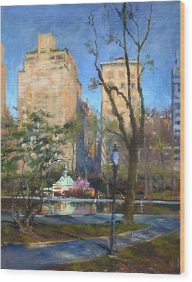 The Sailboat Pond In Central Park Wood Print