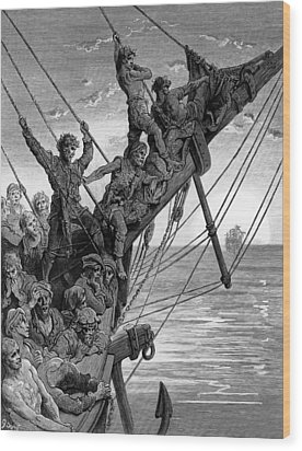 The Sailors See In The Distance A Ghostly Ship Wood Print by Gustave Dore