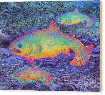 Wood Print featuring the mixed media The Salmon King by Teresa Ascone