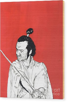 Wood Print featuring the mixed media The Samurai On Red by Jason Tricktop Matthews