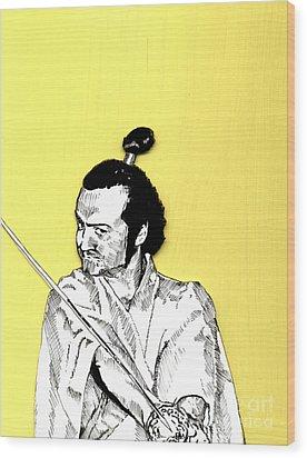 The Samurai On Yellow Wood Print