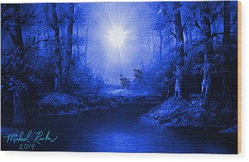 The Sapphire Forest Wood Print by Michael Rucker