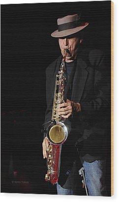The Sax Man Wood Print by Kenny Francis